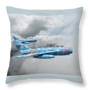 Mig 17s On The Hunt Throw Pillow