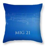 Mig 21 Blueprint Throw Pillow