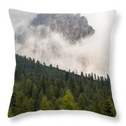 Mighty Dolomite Peaking Through The Clouds Throw Pillow