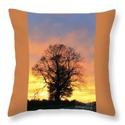 Mighty Oak At Sunset Throw Pillow