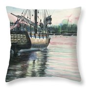 Mighty Ship Sleeping Throw Pillow by Rosemary Kavanagh
