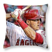 Mike Trout Baseball Throw Pillow