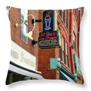 Mike's Ice Cream And Coffee Bar Throw Pillow