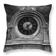 Milan Clock In Black And White Throw Pillow