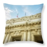 Milan Italy Train Station Facade Throw Pillow