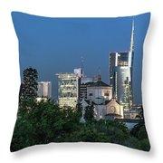 Milan Skyline By Night, Italy Throw Pillow