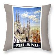 Milan Travel Print Throw Pillow