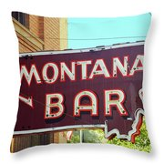 Miles City, Montana - Bar Neon Throw Pillow