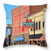 Miles City, Montana - Downtown Casino 2 Throw Pillow