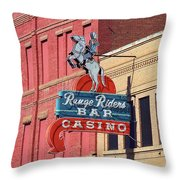 Miles City, Montana - Downtown Casino Throw Pillow