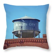 Miles City, Montana - Water Tower Throw Pillow