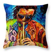 Miles Davis Hot Jazz Portraits By Carole Spandau Throw Pillow