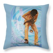 Miles Davis  In A Yellow Suit Throw Pillow