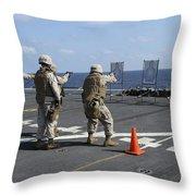 Military Policemen Train Throw Pillow by Stocktrek Images