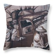 Military Truck Street Art Throw Pillow
