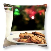 Milk And Cookies For Santa Throw Pillow