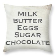 Milk Butter Eggs Chocolate Sign- Art By Linda Woods Throw Pillow by Linda Woods