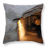 Milk Grotto Church Throw Pillow