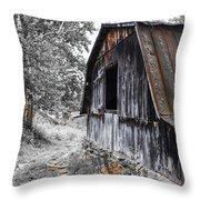 Milking Barn Throw Pillow