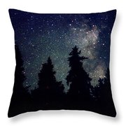 Milky Way Above Northern Forest 22 Throw Pillow