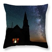 Milky Way And Old Church Throw Pillow
