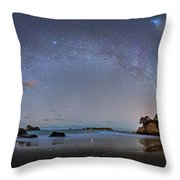 Milky Way At Cathedral Cove Throw Pillow