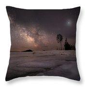 Milky Way At Nautical Twilight Throw Pillow
