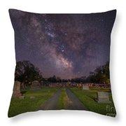 Milky Way Cemetery Throw Pillow