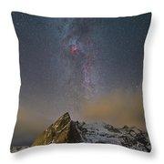 Milky Way In Lofoten Throw Pillow