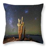 Milky Way Magellanic Clouds And Giant Cactus Incahuasi Island Bolivia Throw Pillow