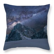 Milky Way On Italian Dolomites Throw Pillow