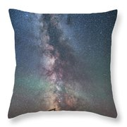 Milky Way Over An Old Ranch Corral Throw Pillow