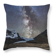 Milky Way Over Athabasca Glacier Throw Pillow