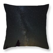 Milky Way Over Bay Of Gaspe Throw Pillow