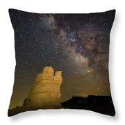 Milky Way Over Castle Rock Throw Pillow