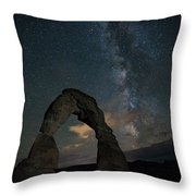 Milky Way Over Delicate Arch Throw Pillow