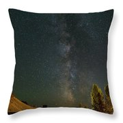 Milky Way Over Farmland In Central Oregon Throw Pillow