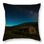Milky Way Over Log Cabin Throw Pillow