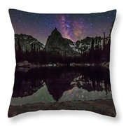 Milky Way Over Lone Eagle Peak And Mirror Lake Throw Pillow