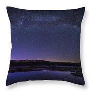Milky Way Over Lonesome Lake Panorama Throw Pillow