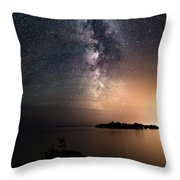 Milky Way Over Mary Island From Silver Harbour Near Thunder Bay Throw Pillow
