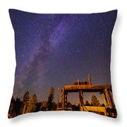 Milky Way Over Old Corral Throw Pillow