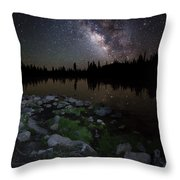 Milky Way Over Pass Lake Throw Pillow