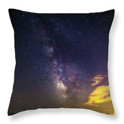 Milky Way Over The Boardwalk Throw Pillow