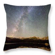 Milky Way Over The Colorado Indian Peaks Throw Pillow