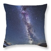 Milky Way Over The Columbia Icefields Throw Pillow