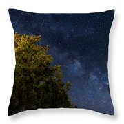 Milky Way Over The Forest At The Troodos Mountains In Cyprus. Throw Pillow