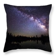 Milky Way Over The Lake Throw Pillow