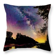 Milky Way Over The Saco River Maine  Throw Pillow