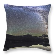 Milky Way Panorama At Cameron Lake Throw Pillow